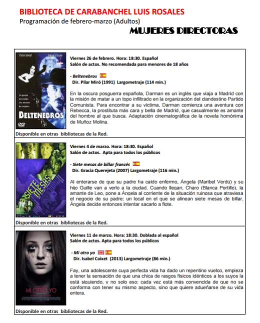 Ciclo de cine mujeres directoras en la biblioteca Luis Rosales