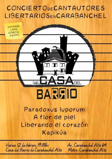 Concierto de cantautores en La Casa del Barrio