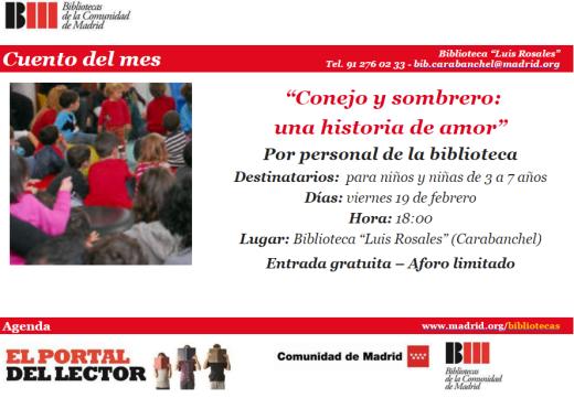 Cuentacuentos en la biblioteca Luis Rosales el 19 de febrero