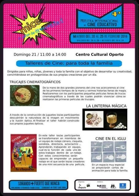 Taller de cine para toda la familia el 21 de febrero en el Centro Cultural Oporto