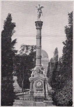 Grabado del monumento funerario de Goya, Meléndez Valdés, Donoso Cortés y Moratín en el cementerio de San Isidro
