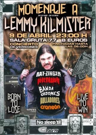 Homenaje a Lemmy de Motorhead en el Gruta 77 el 9 de abril