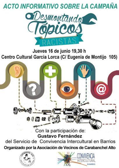 Acto informativo sobre la campaña Desmontando Tópicos Racistas el 16 de junio en el CC García Lorca