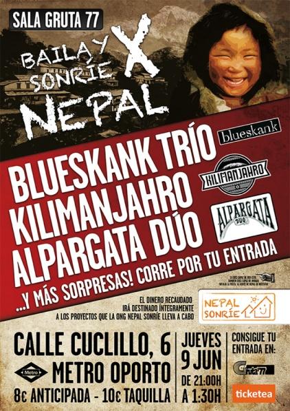 Concierto benéfico a Nepal en Gruta 77 el 9 de junio