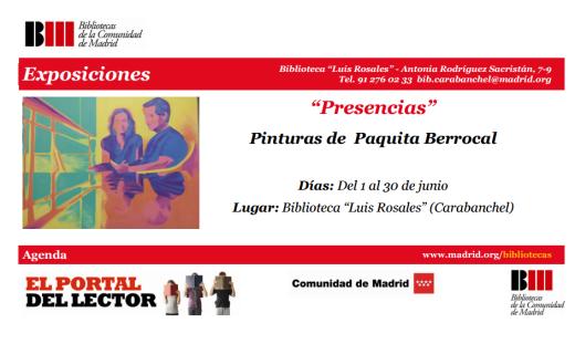Exposición de pintura Presencias en la biblioteca Luis Rosales en el mes de junio