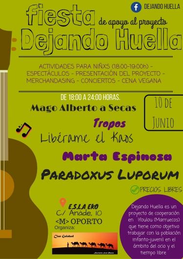 Fiesta apoyo DEJANDO HUELLA en el EKO el 10 de junio