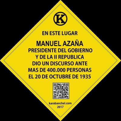 Placa 35. Discurso de Manuel Azaña en Comillas