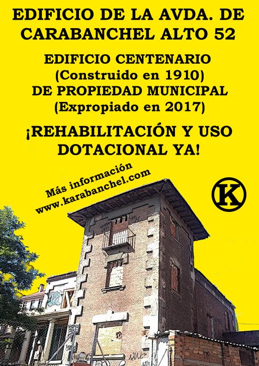 Cartel edificio Carabanchel Alto 52