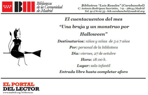 Cuentacuentos Una bruja y un monstruo por Hallowen el 27 de octubre en la biblioteca Luis Rosales