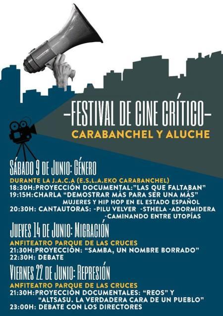 Festival de Cine Crítico de Carabanchel y Latina el 9 de junio en el EKO y el 14 y 22 de junio en el Parque de las Cruces