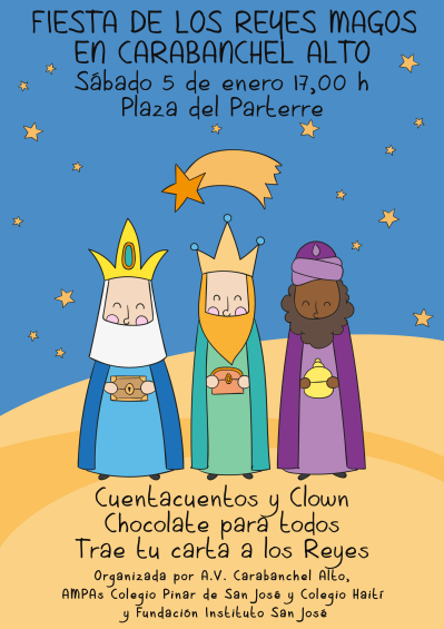 Cartel Fiesta de los Reyes Magos en Carabanchel Alto