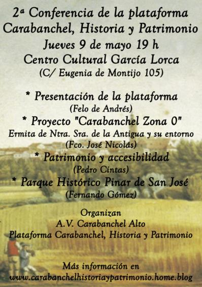 Cartel MINÚSCULAS 2ª Conferencia Carabanchel Historia y Patrimonio