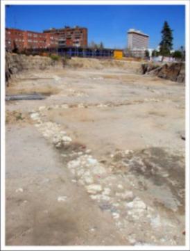 Restos del yacimiento encontrado junto a la estación de Eugenia de Montijo