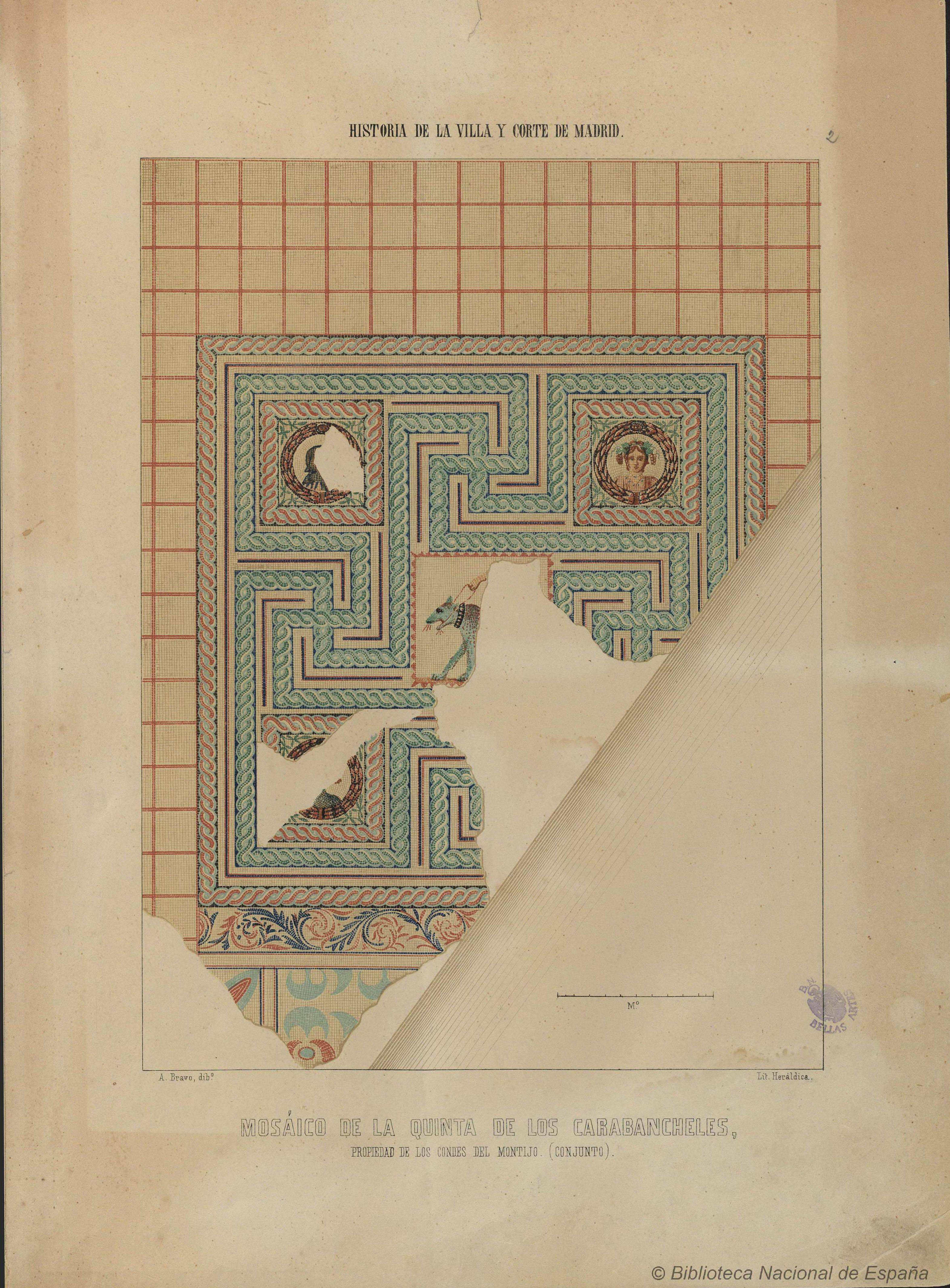 Mosaico de los Carabancheles . Litografía de Antonio Bravo (1860)
